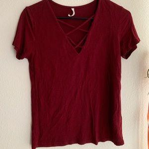 cross front shirt